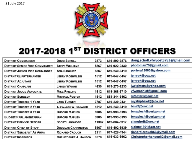 17-18 1st District Officers UPDATE