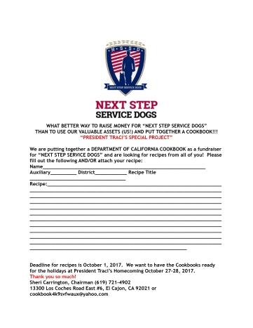 Next Step Service Dog Cookbook  flyer