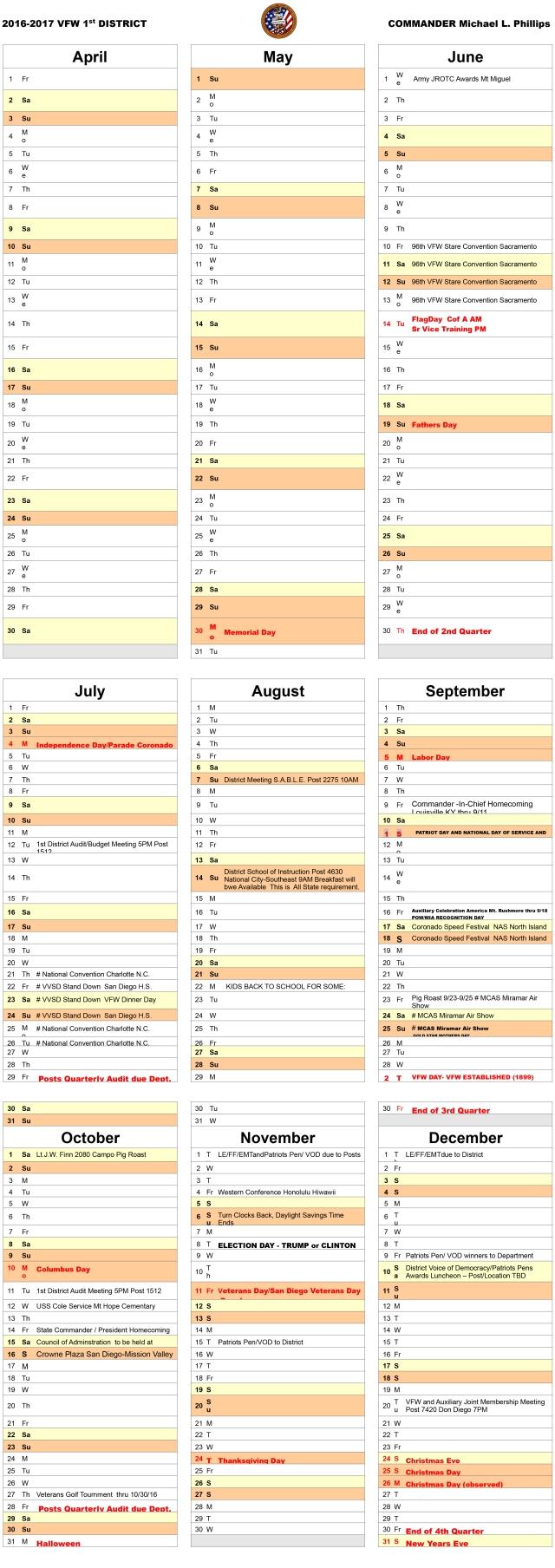 1st district calendar fy 16-17 June to December